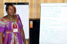 Gladys Adusah leads a workshop to empower community members in Brong Ahafo to advocate for their rights.